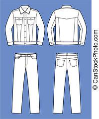 Jeans wear - Vector illustration of men's jeans suit. Jacket...