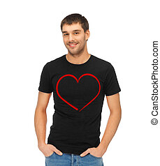 man in black t-shirt with heart image - love and happiness...