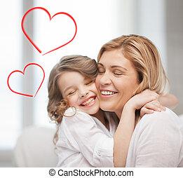 sorrindo, mãe, filha, Abraçando