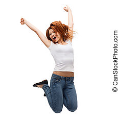 teenage girl in white blank t-shirt jumping - activity and...