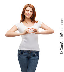 smiling girl showing heart with hands - friendship, t-shirt...