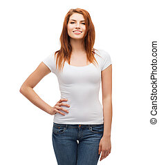 smiling teenager in blank white t-shirt - t-shirt design...