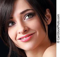Beautiful smiling makeup woman face Closeup portrait