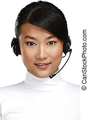 Happy smiling female asian customer service operator on...