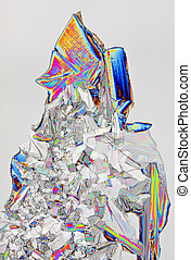 Microscopic view of potassium nitrate crystals - Microscopic...