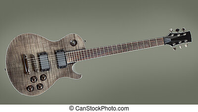 Black Electric Guitar - six-string black electric guitar, on...