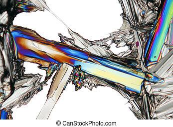 microscópico, vista, potasio, nitrate, cristal,...