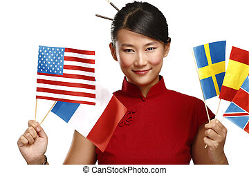 Beautiful asian woman showing multicolor international flags...