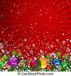 Christmas background with snow-covered Christmas tree...
