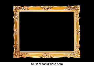 Frame gold - Engraved frame in pure gold isolated on black