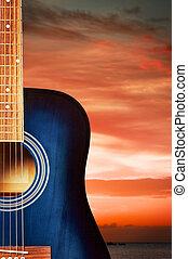 Blue Acoustic Guitar - blue classic acoustic guitar, on...