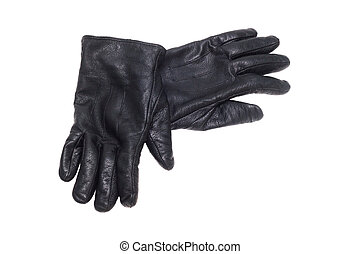 black pair leather gloves isolated on white background...