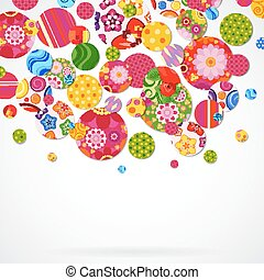 Background with floral and ornamental circles.