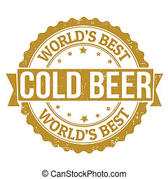 Cold Beer stamp - Grunge rubber stamp with the word Cold...