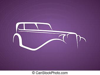 Antique logo over purple