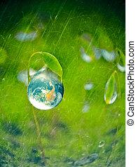 概念, エネルギー, 低下, 水, 緑, 地球, 新たに