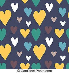 Grungy seamless vector heart pattern for valentines day