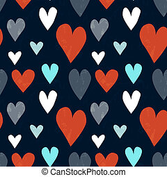 Grungy seamless vector heart pattern for valentine's day