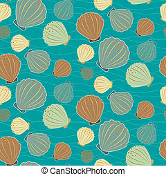 Seamless sealife vector pattern with shells