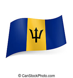 State flag of Barbados - National flag of Barbados: yellow...