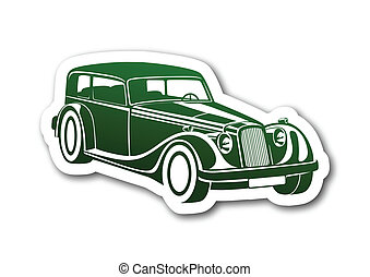 Green sport classic auto on paper
