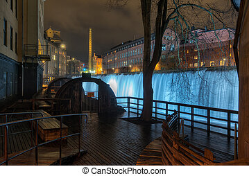 Christmas time in Sweden - The waterfall in the famous...