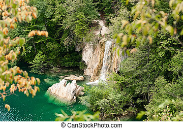Plitvice Lakes with waterfall Croatia