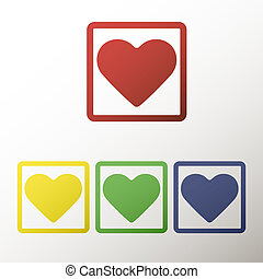 Collection of buttons with the heart