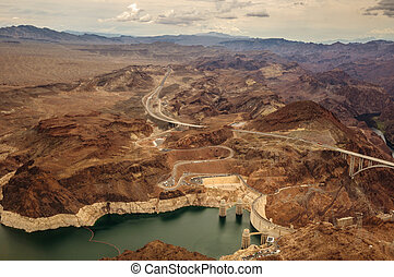 Hoover Dam taken from helicopter near las vegas 2013