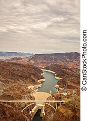 Hoover Dam with bridge - Hoover Dam taken from helicopter...