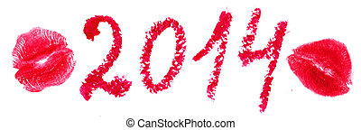 Word 2014 is written with lipstick and kiss stamp. Isolated...