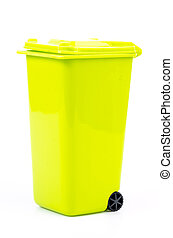 Green bin on isolated white background