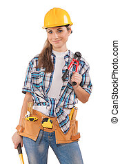 beautiful sexy girl in work wear holding tools isolated on...