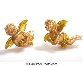 gouden, witte,  Cherubs, twee, achtergrond