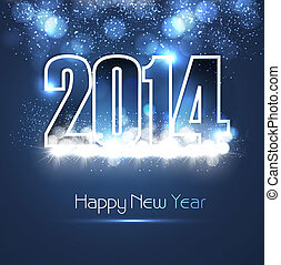 New year 2014 shiny blue colorful fantastic background...