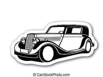 Black classic auto over paper
