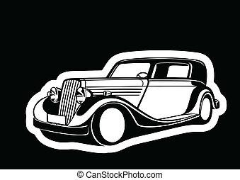 Classic auto over black