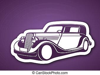 Classic auto over purple