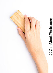 Brush - Hand holding brush erase on isolated white...