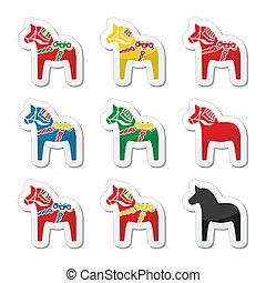 Swedish dala horse vector icons set - Symbol of scandynavia...