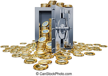 money - high resolution 3d rendering of a bank vault