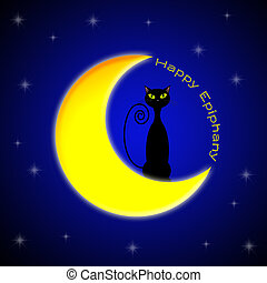Epiphany - cat on the moon for Happy Epiphany