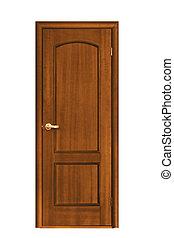 wooden door - architecture object; wooden door isolaten on...
