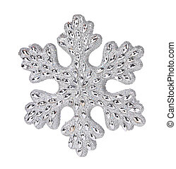 Silver snowflake decoration.