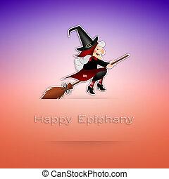 Happy Epiphany - illustration of Epiphany on broom