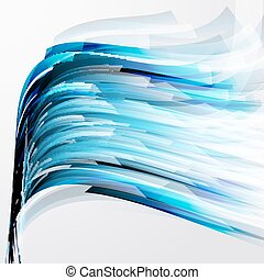 abstract turquoise design elements on a light background.