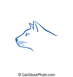 Blue cat head logo