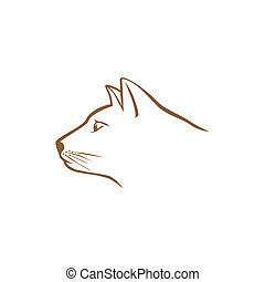 Brown cat head logo