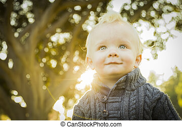 Adorable Blonde Baby Boy Outdoors at the Park - Adorable...