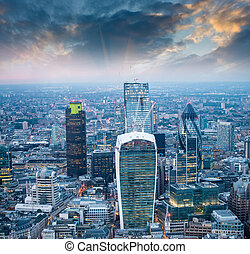 London. Stunning aerial view of modern skyline at dusk